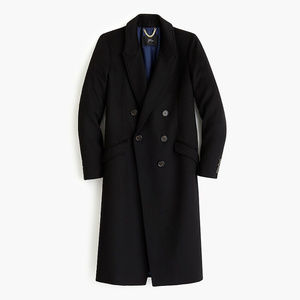 NWT J. Crew Long Double Breasted Topcoat Black